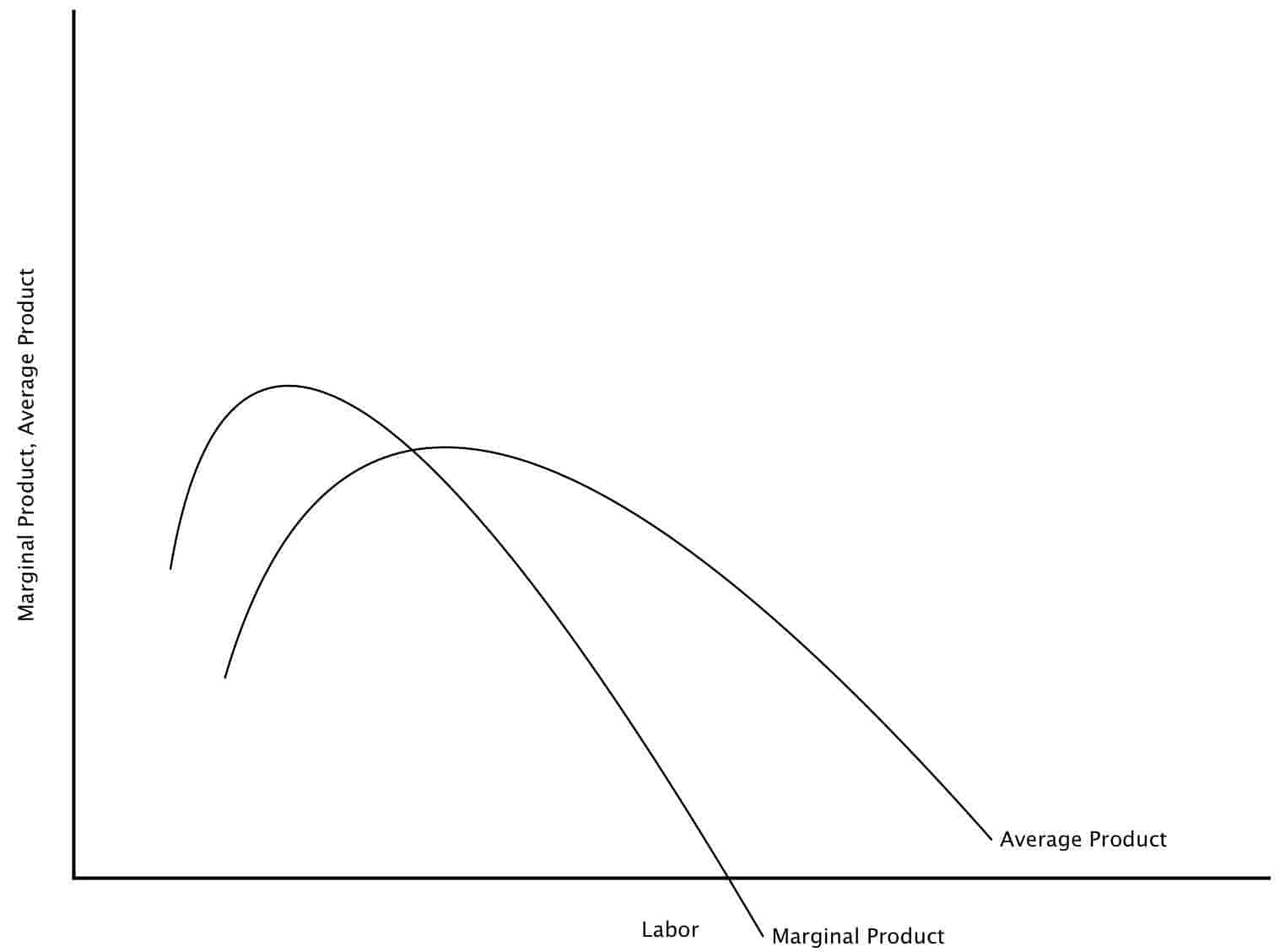 Marginal Product, Average Product curves