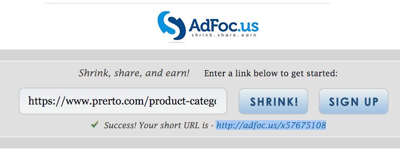 Adfocus url shortener