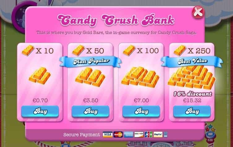 candy crush in app purchase