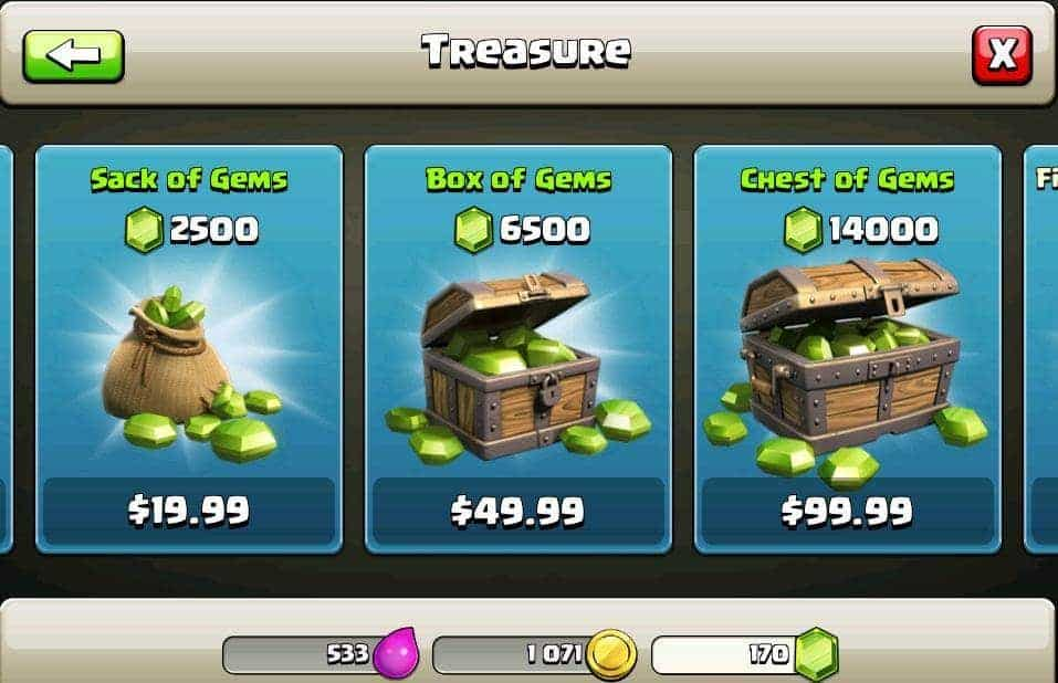 clash of clan in game purchase